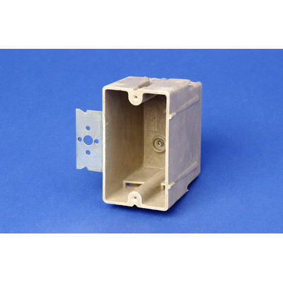 Allied Moulded 1096-Z4 1-Gang Switch/Receptacle Outlet Box; 3 Inch Depth, Thermoset-Fiberglass Reinforced Polyester, 18 Cubic-Inch, Beige/Tan