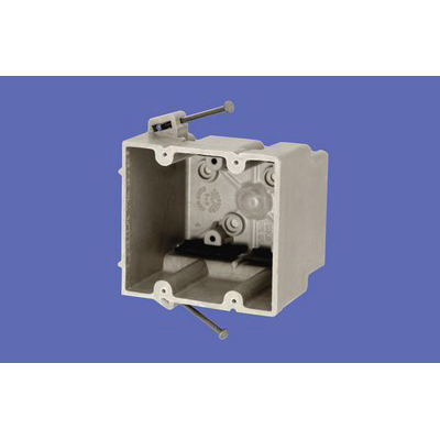 Allied Moulded 2302-NK 2-Gang Switch/Receptacle Outlet Box; 3-7/16 Inch Depth, Thermoset-Fiberglass Reinforced Polyester, 37 Cubic-Inch, Beige/Tan