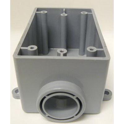 Cantex 5133363 1-Gang FSE Exposed Switch/Outlet Box; 2-3/8 Inch Depth, Rigid PVC, Gray, 1/2 Inch Hub
