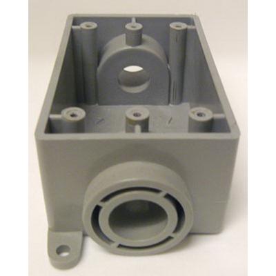 Cantex 5133464 1-Gang FSC Exposed Switch/Outlet Box; 2-3/8 Inch Depth, Rigid PVC, Gray, 3/4 Inch Hub
