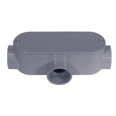 Cantex 5133564 Type T Conduit Body With Removable Cover; 3/4 Inch, Rigid PVC, Gray