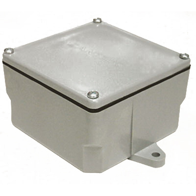 Cantex 5133709 Fabricated Junction Box; 4.400 Inch Depth, Rigid PVC, Gray, Surface Mount, Screwed Cover, 4 Inch x 4 Inch x 4 Inch Hub