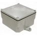 Cantex 5133706 Fabricated Junction Box; 5-3/8 Inch Depth, Rigid PVC, Gray, Surface Mount, Screwed Cover, 5 Inch x 5 Inch x 2 Inch Hub