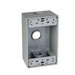 TayMac SB350S 1-Gang Weatherproof Outlet Box; 2 Inch Depth, Die-Cast, Gray