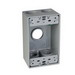 TayMac SB375S 1-Gang Weatherproof Outlet Box; 2.090 Inch Depth, Die-Cast, Gray