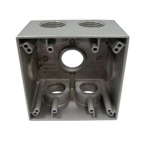 Mulberry 30595 Deep 2-Gang Square Weatherproof Box; 2 Inch Depth, 0.094 Inch Die-Cast Aluminum, 37.3 Cubic-Inch, Gray