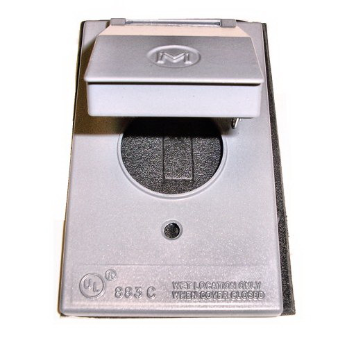 Mulberry 30509 Self-Closing 1-Gang Weatherproof Single Receptacle Cover; Device/Vertical Mount, Die-Cast Zinc, Gray