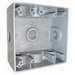 Mulberry 30236 2-Gang Square Weatherproof Box; 2 Inch Depth, 0.094 Inch Die-Cast Aluminum, 30.5 Cubic-Inch, Gray