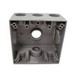 Mulberry 30239 2-Gang Square Weatherproof Box With Lug; 2 Inch Depth, Die-Cast Aluminum, 30.5 Cubic-Inch, Gray