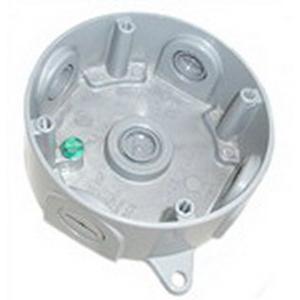 Mulberry 30316 4-Inch Round Weatherproof Box; 1-1/2 Inch Depth, Die-Cast Aluminum, 15.3 Cubic-Inch, Gray