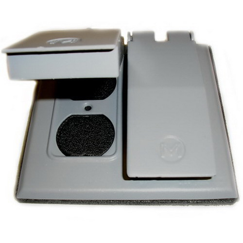 Mulberry 30458 Self-Closing 2-Gang Weatherproof Cover; Device Mount, Solid Aluminum, Gray