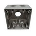Mulberry 30593 2-Gang Square Weatherproof Box; 2-5/8 Inch Depth, 0.094 Inch Die-Cast Aluminum, 37.3 Cubic-Inch, Gray