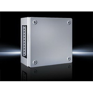 Rittal 1541510 KL Model Solid Single Door Terminal Box; 18 Gauge Sheet Steel, RAL 7035 Light Gray, Wall Mount, Screwed Cover