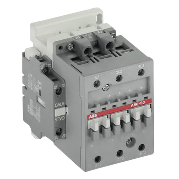 ABB A50-40-00-84 Non-Reversing AC operated IEC Contactor; 4-Pole, 3 Phase, 100 Amp At 40 deg C 690 Volt, 85 Amp At 55 deg C 690 Volt, 70 Amp At 70 deg C 690 Volt, 110 Volt Coil At 50 Hz, 110 - 120 Volt Coil At 60 Hz, DIN-Rail/Common Base Plate Mount
