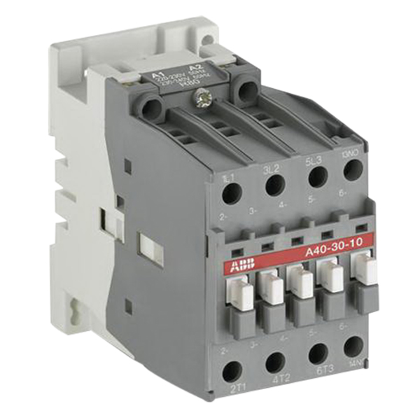 ABB A40-30-01-81 Non-Reversing AC operated IEC Contactor; 3-Pole, 3 Phase, 60 Amp At 40/55 deg C 690 Volt, 42 Amp At 70 deg C 690 Volt, 24 Volt Coil At 50/60 Hz, DIN-Rail/Common Base Plate Mount