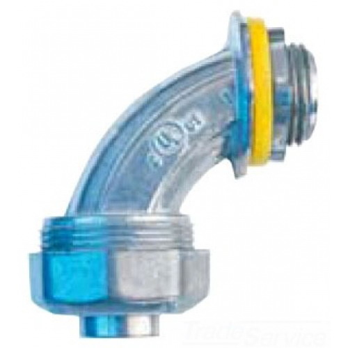 Cooper Crouse-Hinds LT10090DC Non-Insulated 90 Degree Liquidtight Connector; 1 Inch, Die-Cast Zinc, Natural