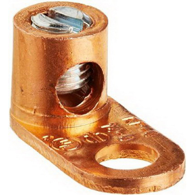 NSI TL4 Single Dual Rated Straight Pad Mechanical Lug Connector 1/4 Inch Bolt Size  14-4 AWG  1 Hole Mount  Copper