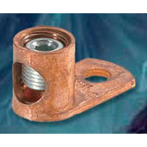 NSI TL1/0 Type TL Terminal Connector Lug; 5/16 Inch Bolt Size, 1/0 AWG Stranded - 4 AWG Solid, 1 Hole Mount, Copper/Cast Bronze