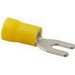 NSI S12-8V-L Vinyl Insulated Locking Spade Terminal; 12-10 AWG, #8 Stud, Yellow, 50/PK