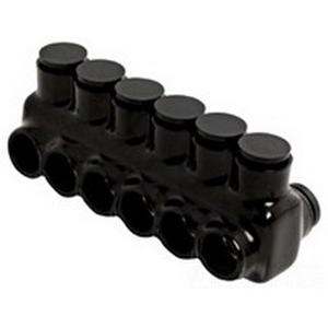 NSI IPLD500-6 Polaris™ Multi Cable Connector Block; 500 MCM-4 AWG, 6 Ports, 600 Volt, Plastisol, Black