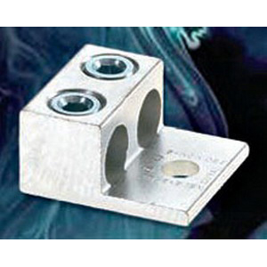 NSI 2-350T Dual Rated Mechanical Lug Connector; 1/2 Inch Bolt Size, 6 AWG - 350 MCM, 1 Hole Mount, 6061-T6 Aluminum Alloy, Tin-Plated
