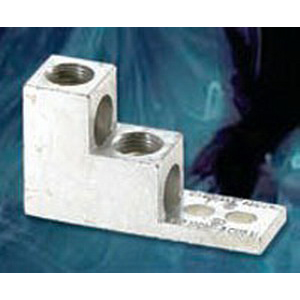 NSI 600T-2 Stacked Lug; 3/8 Inch Bolt Size, (2) 600 MCM - 2 AWG, 2 Hole Mount, 6061-T6 Aluminum Alloy, Tin-Plated