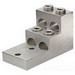 NSI 600T-4 Stacked Lug; 3/8 Inch Bolt Size, (4) 600 MCM - 2 AWG Aluminum/Copper, 2 Hole Mount, 6061-T6 Aluminum Alloy, Tin-Plated