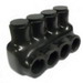 NSI IPL1/0-4 Polaris™ Multi Cable Connector Block; 14-1/0 AWG, 4 Ports, 600 Volt, Plastisol, Black
