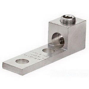 NSI 600L2 NEMA Panel Board Mechanical Lug; 1/2 Inch Bolt Size, 600 MCM - 2 AWG, 2 Hole Mount, 6061-T6 Aluminum Alloy, Tin-Plated