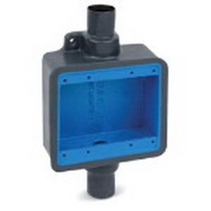"""Ocal FDC222-G Ocal-Blue Through-Feed 2-Gang FS/FD Device Box Iron, Dark Gray, 3/4 Inch Straight Hub,"""""""