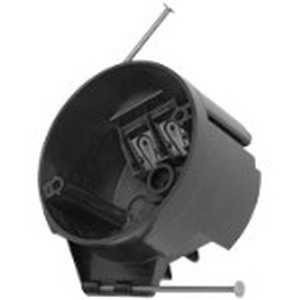 Bowers 3R-16-N Round Ceiling Outlet Box; 2-1/4 Inch Depth, Polycarbonate, 16 Cubic-Inch, Black