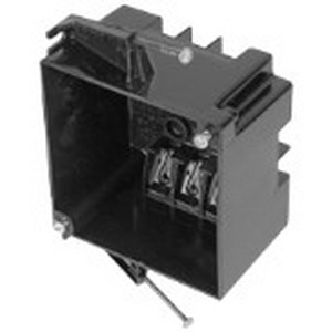 Bowers 4S-32-N 2-Gang Square Outlet Box; 2-9/16 Inch Depth, Polycarbonate, 32 Cubic-Inch, Black