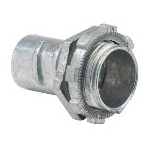 Bridgeport 522-DC2 Non-Insulated Connector; 1 Inch, Die-Cast Zinc, Ball Burnished, Mirror Smooth, Screw-In