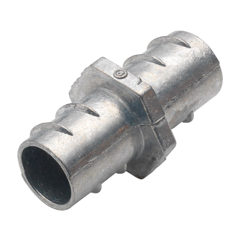 Bridgeport 530-DC Flexible Metal Conduit Coupling; 1/2 Inch, Screw-In, Zinc Die-Cast, Ball Burnished, Mirror Smooth