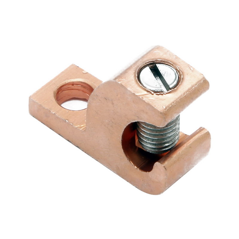 Hubbell Electrical / Burndy CL501TN Direct Burial Lay In Lug Connector; 1/4 Inch Bolt Size, 14-4 AWG Solid or Stranded, Copper, Stainless Steel Hardware, Electro Tin-Plated