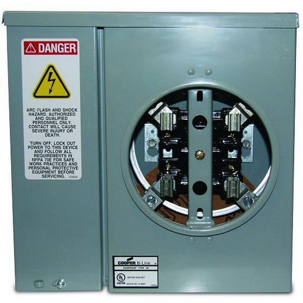 Cooper B-Line U011 Ring 3-Wire Single Meter Socket; 600 Volt, 125 Amp Continuous, 150 Amp Maximum, 1-Phase, 4-Jaw, Surface Mount