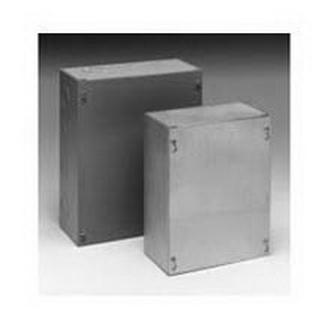 Cooper B-Line 66SCF Cover; 16 Gauge Steel, ANSI 61 Gray, Flush/Screw Mount, Fits 6 x 6 Inch Enclosure