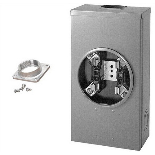 Cooper B-Line 204MS68 Ring 3-Wire Single Meter Socket; 600 Volt, 200 Amp, 1-Phase, 4-Jaw, Surface Mount