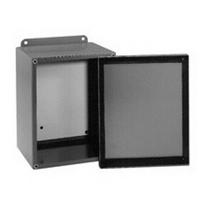 Cooper B-Line 664-12SC Solid Box Electrical Enclosure; 16 Gauge Steel, ANSI 61 Gray, Wall Mount, Screwed Cover