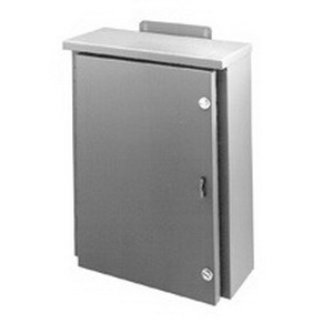 Cooper B-Line 16166RHC Large Solid Single Door Panel Enclosure; 16 Gauge Galvanized Steel, ANSI 61 Gray, Wall Mount, Hinged Cover