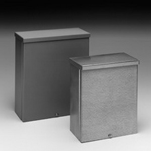 Cooper B-Line 10104RTSC-NK Junction Box; 16 Gauge Galvanized Steel, ANSI 61 Gray, Wall Mount, Screw-On Cover
