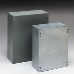 Cooper B-Line 242410SCNK Junction Box; 14 Gauge Steel, ANSI 61 Gray, Wall Mount, Screwed Cover