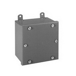 Cooper B-Line 884WPSC Junction Box; 16 Gauge Steel, ANSI 61 Gray, Wall Mount, Screwed Cover