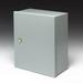 Cooper B-Line 16126-1 Medium Solid Single Door Flush Latch Style Panel Enclosure; 16 Gauge Steel, ANSI 61 Gray, Wall Mount, Hinged Cover