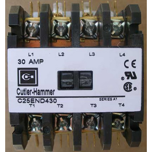 Eaton / Cutler Hammer C25END430H Non-Reversing Definite Purpose Contactor 4-Pole  277 Volt AC At 60 Hz Coil  3 Phase  30 Amp Inductive Full Load  40 Amp Resistive
