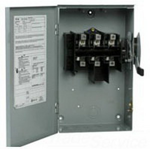 Eaton / Cutler Hammer DG221URB 2-Wire Outdoor Non-Fusible General Duty Safety Switch; 240 Volt AC, 30 Amp, 2-Pole, NEMA 3R
