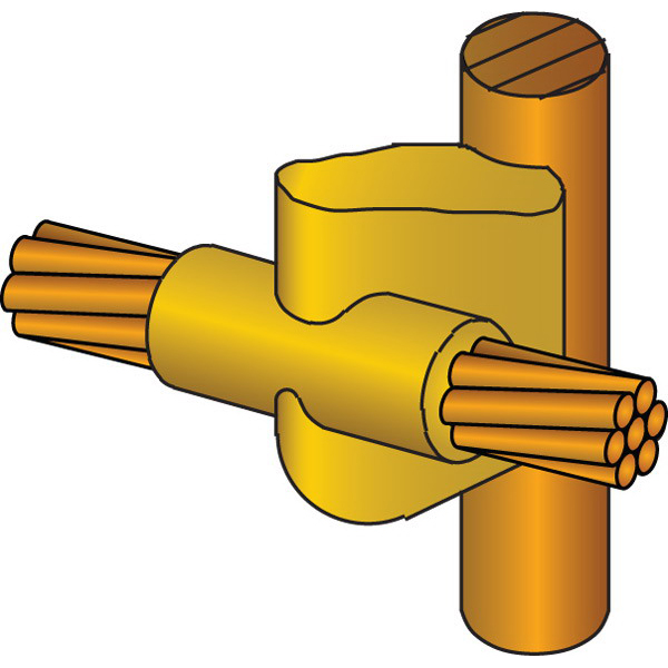 Erico GYR161T Cadweld Standard Mold 5/8 Inch Copper Bonded Rod Run  2 AWG Solid Tap  Cable to Ground Rods or Other Rounds