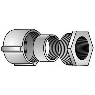 O-Z/Gedney 4-200 Type 4 Coupling and Offset Nipple; 2 Inch, Malleable Iron, 3-Piece, Threaded