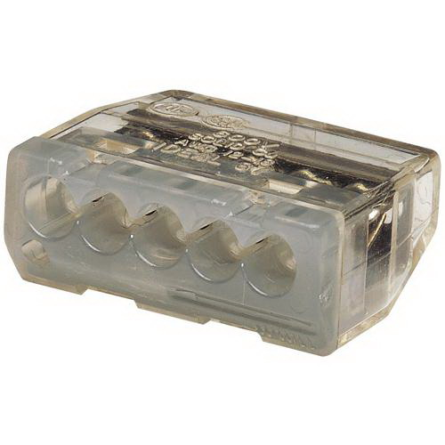Ideal 30-687 In-Sure™ Push-In Wire Connector; 20-12 AWG, 600 Volt Maximum Building Wire, 5 Ports, Gray, 3000/BX