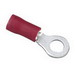 Ideal 83-2121 Vinyl Insulated Ring Terminal; 22-18 AWG, #6 Stud, Brass, Red, 100/BX